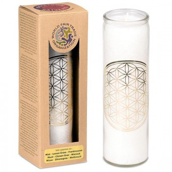 Geurkaars Flower of Life wit